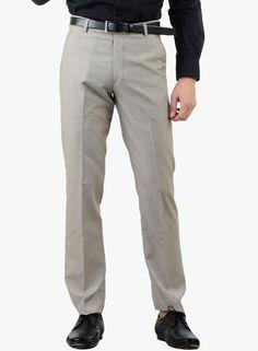 20122ce7fd Buy American-Elm Light Grey Solid Slim Fit Formal Trouser for Men Online  India…
