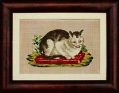 Cat Needlework on Punched Paper, probably American, circa 1860