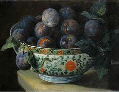 François Desportes. Plums in Chinese Porcelain Bowl. 18th century
