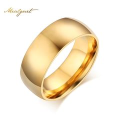 Meaeguet Simple Gold-Color Ring Stainless Steel Wedding Jewelry Engagement Rings For Women Men USA Size | Price: US $2.39 | http://www.bestali.com/goto/1528855661/10