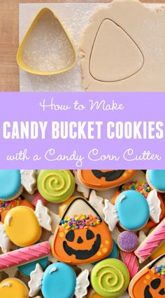 How to Make Halloween Candy Bucket Cookies with a Wilton Candycorn cutter via Sweetsugarbelle.com