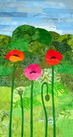 Poppy quilt by Anne Hejl