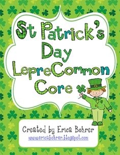 This 103 page download contains math and literacy activities aligned to the Common Core.  Teacher and student directions are included.  As well as, math center rotation cards and essential questions for the math centers.Math Centers:Shamrocks and Rainbows Sums of Ten - Students manipulate shamrock and rainbow chips in a festive Ten-Frame to find different ways to make sums of the.Leprechaun Domino Fact Families - Students place their dominos on a leprechaun work-mat and find the parts and .....