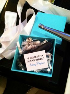 Tiffany party--- Breakfast at Tiffany's party favor have a blue gift box and nail polish include a cuticle cutie sample.