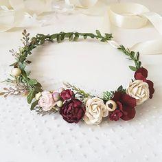 Blush pink Burgundy Beige flower crown Burgundy Floral #weddingcrowns