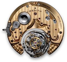 "El Primero 8805 Manual wind movement with ""always horizontal"" regulating organ, chain-fusee constant force mechanism (585 components, 18cm long chain), power reserve minimum 50 hours; 36,000 vph (5 Hz)"