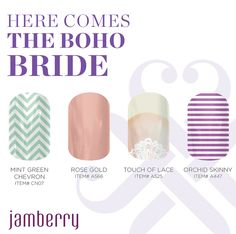 Your best Wedding nails / Wedding Manicure & Pedicure from Jamberry - heat activated vinyl nail wraps for your bridal party nails, perfect on both natural or acrylic nails that last 2 weeks on fingers, up to 6 weeks on toes. Place your orders here. Http://abbymorin.jamberrynails.net