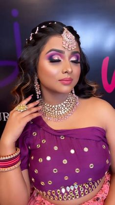 """""""To nail that wedding look, every bride-to-be remains on a constant lookout for that perfect Indian bridal makeup look. Every day social media is flooded with various makeup trends, and you need to be careful before with your bridal look. From traditional bridal look to minimal makeup, check out Our Favorite 51 Indian Bridal Makeup Looks before selecting yours. """" Bridal Makeup Looks, Indian Bridal Makeup, Bridal Looks, Purple Eye Makeup, Minimal Makeup, Wedding Looks, Bridal Make Up, Plan Your Wedding, Makeup Trends"""