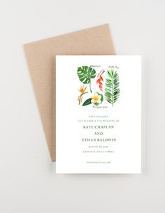 Tropical Botanical Save The Date, Palm and Hibiscus Wedding Invitation by seahorsebendpress on Etsy