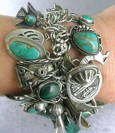 Adore the look of this chunky Boho wrist candy Charm Jewelry, Boho Jewelry, Antique Jewelry, Silver Jewelry, Vintage Jewelry, Fine Jewelry, Handmade Jewelry, Jewelry Design, Fashion Jewelry