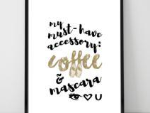 Plakat A3- kawa i maskara_brąz
