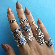 I'm in love with the nails and rings combo. So, so beautiful... #boho #gorgeous                                                                                                                                                                                 More
