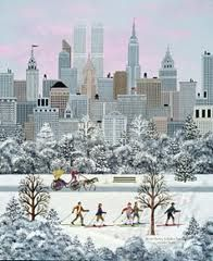 Folk Art - Winter City Scene - Cross Country Skiing by Linda Nelson Stocks