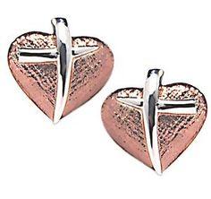 Sterling & rose gold Cross My Heart Earrings by Artist of Hope, Steven Lavaggi