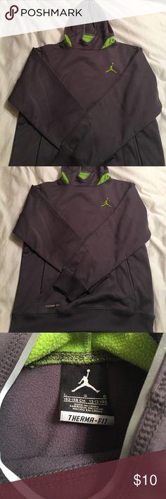 Jordan - boys sweatshirt Size large boys grey and neon green hooded therma-fit sweatshirt. Excellent condition. Jordan Shirts & Tops Sweatshirts & Hoodies
