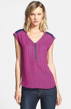 Fave top right now in all colors. Runs really big - size medium. Pleione Zip V-Neck Woven Top