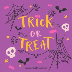 Purple vintage background of trick or treat Free Vector