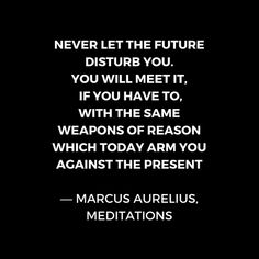 'Stoic Wisdom Quotes - Marcus Aurelius Meditations - Never let the future disturb you' Poster by IdeasForArtists Empathy Quotes, Wisdom Quotes, Words Quotes, Life Quotes, Sayings, Daily Quotes, Marcus Aurelius Meditations, Stoicism Quotes, Philosophical Quotes