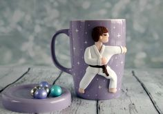 Karate men mug ceramic mug with a lid 12 oz handmade decor is made from oven baked polymer clay brand Premo