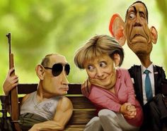 political situation these days, Putin, Merkel Obama Funny Walmart Pictures, Funny Cartoon Pictures, Funny Photos, Best Funny Pictures, Random Pictures, Funny Caricatures, Celebrity Caricatures, Satire, Funny Cartoons