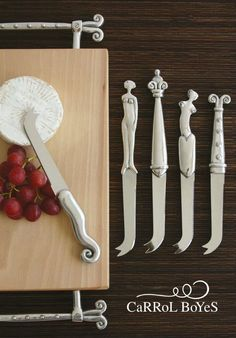 Cheese Board & Cheese Knives--Woman,Crown,Woman Coil & Aries