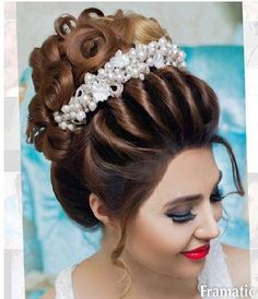 Evening Hairstyles, Indian Wedding Hairstyles, Bride Hairstyles, Bridal Hairdo, Hairdo Wedding, Hair Upstyles, Hair Today, Hair Dos, Hair Inspiration