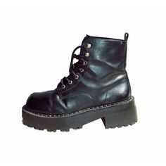 90s Black Platform Military Combat Boots Chunky Heel Grunge Distressed... (750 ARS) ❤ liked on Polyvore featuring shoes, boots, ankle booties, black, footwear, black lace-up boots, short black boots, laced up ankle boots, ankle boots and black lace up booties