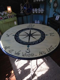 HAND PAINTED Nautical Compass Table Hand by RLCoastalConcepts