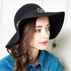 Elegance flower floppy hat for women wool blend wide brim felt hats 02f36268a8ab