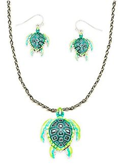 Silver Tone Large Bright Green Tortoise Pendant Necklace 18 Inches and Earrings Treasure Pixie