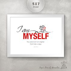 I AM MYSELF 5x7 Inspirational Quote Print with Tree of LIfe Illustration / Inspiring Gift / Inspiring Typography / Unique Home Decor