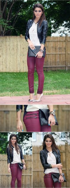 Ways to wear burgundy pants - not this tight though...