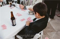 deck of cards party favor for wedding cocktail hour