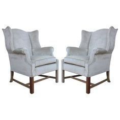 Pair of Sculptural Wingback Lounge Chairs in Grey Silver Velvet | From a unique collection of antique and modern wingback chairs at https://www.1stdibs.com/furniture/seating/wingback-chairs/
