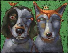 """Woody And Beck, The Famous Hounds Of Montucky"" - Original Fine Art for Sale - © Brenda York"
