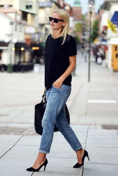 Pumps staan geweldig onder een boyfriend jeans..