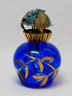 Cobalt Blue & Gold Etched Glass Decorative Perfume Atomizer Bottle Mid 1940s | eBay