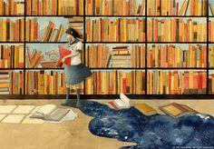 "Photo from album ""Rie Nakajima"" on Yandex. Reading Art, Girl Reading, Reading Books, Eagle Images, Positive Art, Moe Anime, Book People, Book Girl, Inspirational Books"