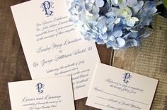 Elegant monogrammed navy wedding invitation ensemble I Custom by Nico and Lala