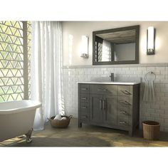 Art Bathe - Kelly 42 French Gray Vanity Ensemble with Mirror and Faucet - KELLY 42 FRENCH GRAY - Home Depot Canada
