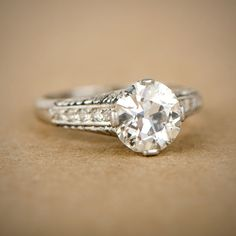2.00ct Platinum and Diamond Engagement by EstateDiamondJewelry