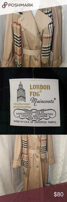 London Fog Trench Coat Long and tan London Fog trench coat. Green plaid lining. London Fog Jackets & Coats Trench Coats