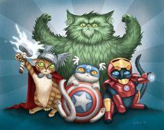 Portraits de chats en super-héros