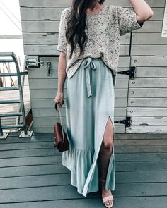 Grey/Mint Ruffle Hem Maxi Skirt Summer Outfit Idea with Pretty in the Pines NC Blogger