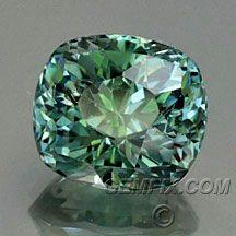 untreated blue green cushion Montana Sapphire