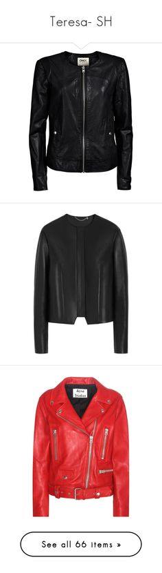 """""""Teresa- SH"""" by inestrindade on Polyvore featuring outerwear, jackets, leather jacket, coats, black, ruffle leather jacket, genuine leather jackets, real leather jackets, button leather jacket and ruffle jacket"""