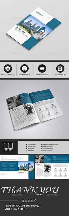 BiFold Brochure Photoshop PSD Magazine Professional Download - Bi fold brochure template indesign