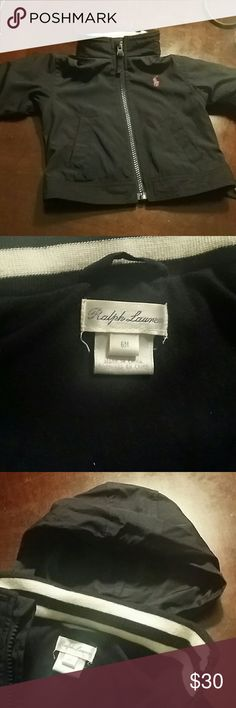 Polo Ralph Lauren Windbreaker Jacket Navy Blue w Red Horseman....Baby Boy Polo Windbreaker Jacket....hood inside collar w snap closure....zip up the front....snaps on cuffs of sleeve....Worn once! Polo by Ralph Lauren Jackets & Coats