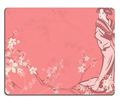 Mousepads spring season vector background with beautiful Japanese geisha and sakura flowers IMAGE 35600279 by MSD Mat Customized Desktop Laptop Gaming Mouse Pad -- This is an Amazon Affiliate link. Check this awesome product by going to the link at the image.