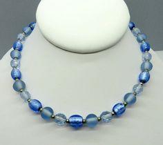 Blue Beaded Necklace Vintage Glass Plastic by LeesVintageJewels